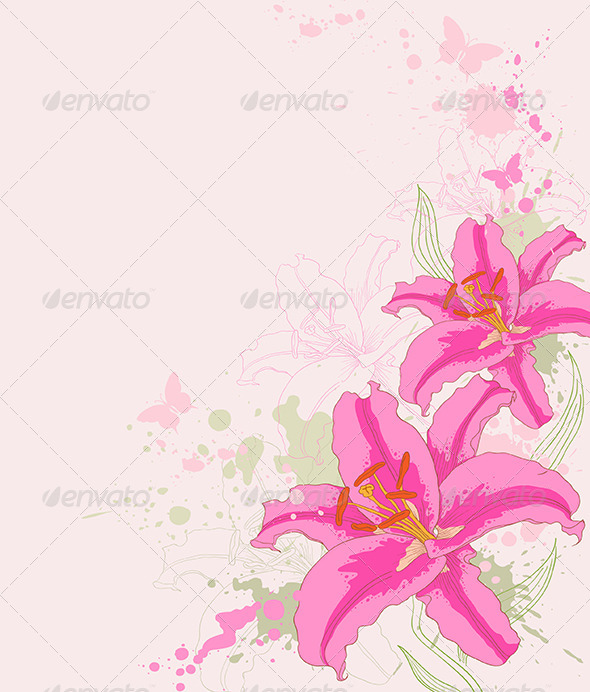GraphicRiver Floral Background with Pink Lily 4529559