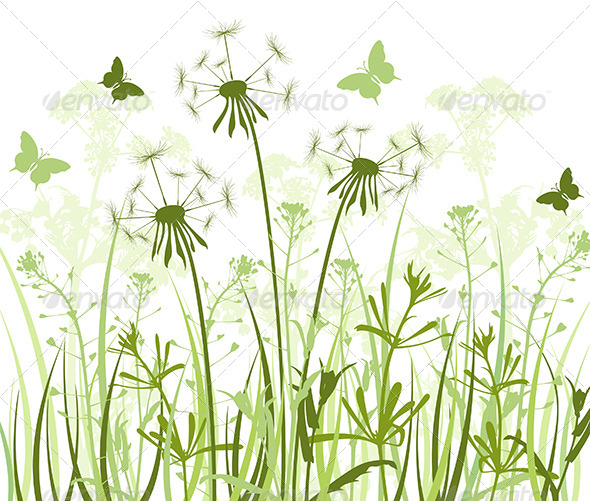 GraphicRiver Floral Background with Grass and Dandelions 4529739