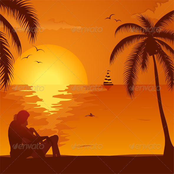 GraphicRiver Summer Sunset with Couple 4529891