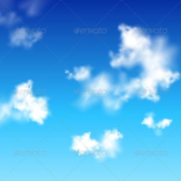 GraphicRiver Vector Clear Blue Sky with White Clouds 4530026