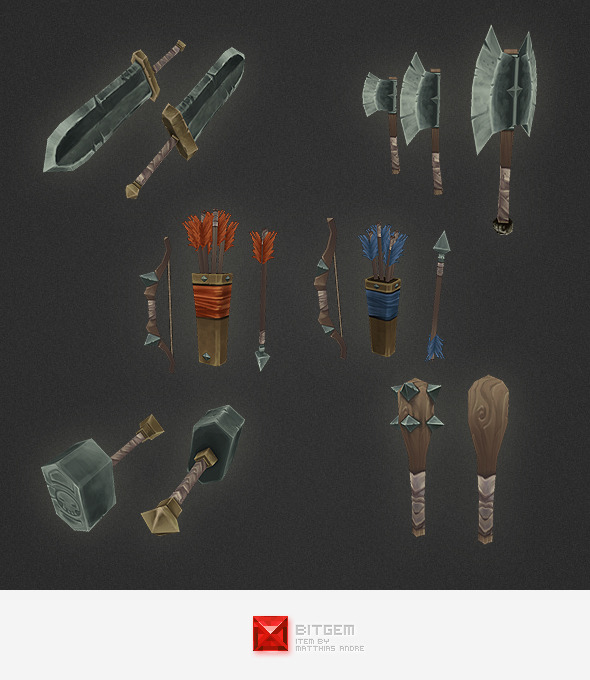 3DOcean Low Poly Weapon Set 05 4530303