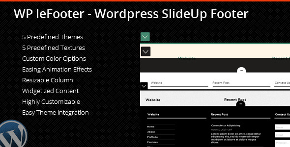 WP leFooter - Wordpress SlideUp Footer Plugin - CodeCanyon Item for Sale