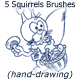 5 Squirrels Brushes (hand-drawing)