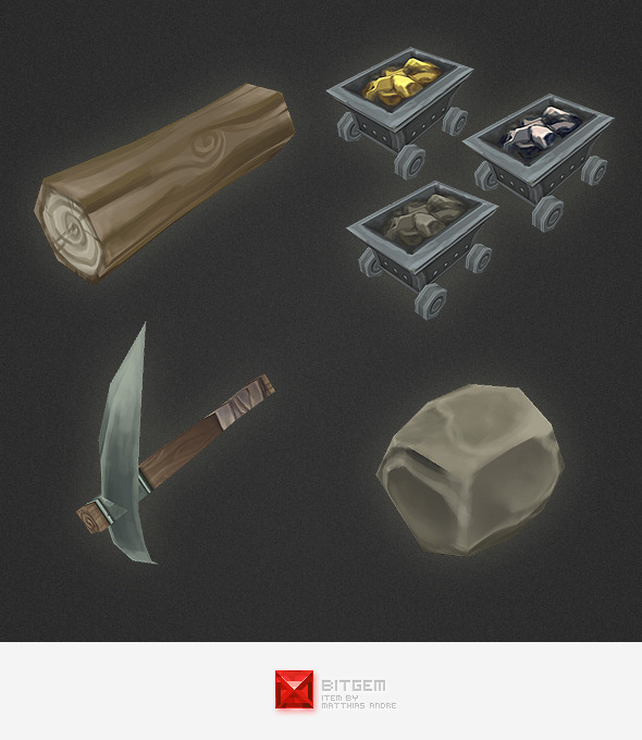 Low Poly RTS Misc Items - 3DOcean Item for Sale