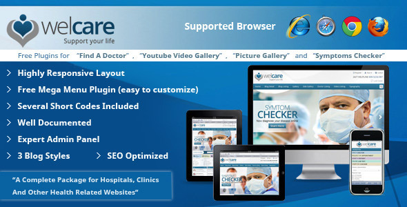 ThemeForest Welcare Responsive Medical Wordpress Theme 4458432