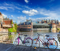 Bridge, bicycles and canal. Ghent, Belghium - PhotoDune Item for Sale