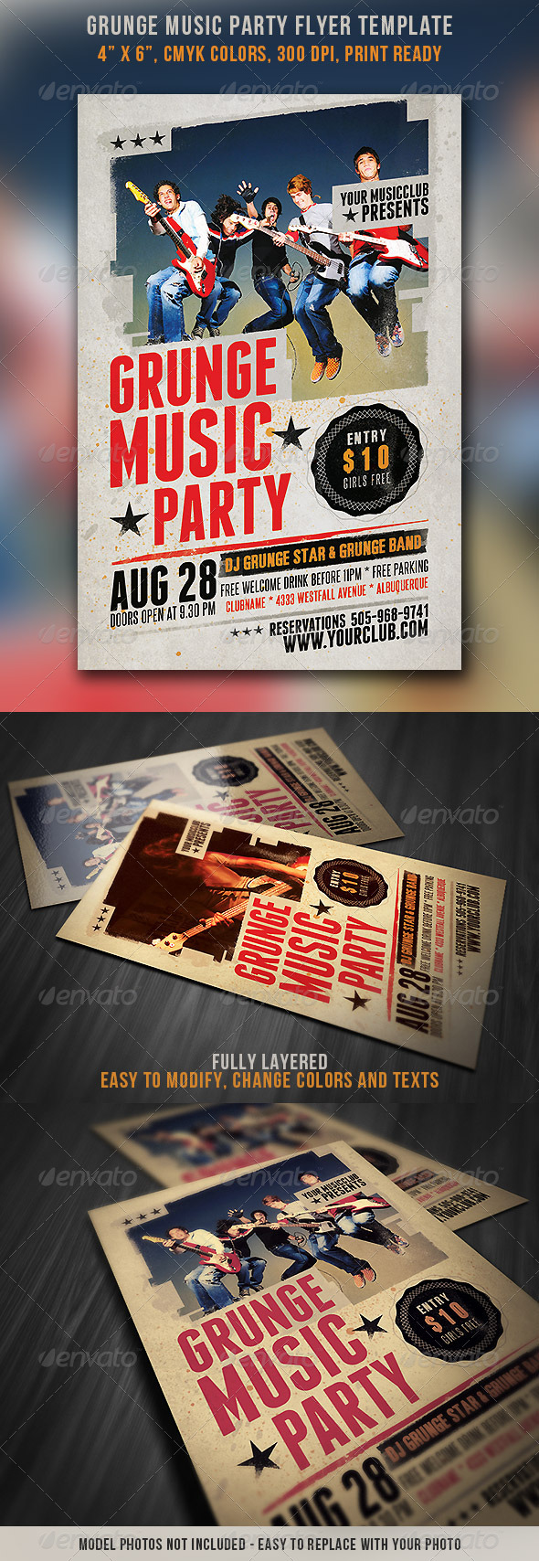 GraphicRiver Grunge Music Party Flyer 4532196