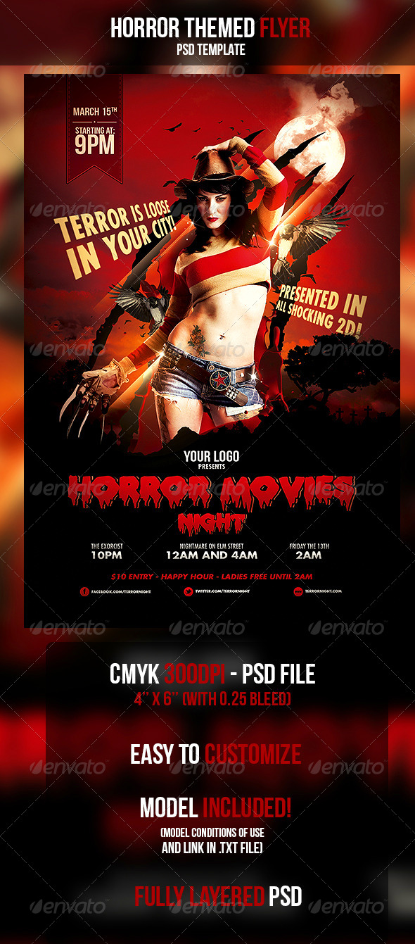 GraphicRiver Horror Movies Themed Flyer 4449915