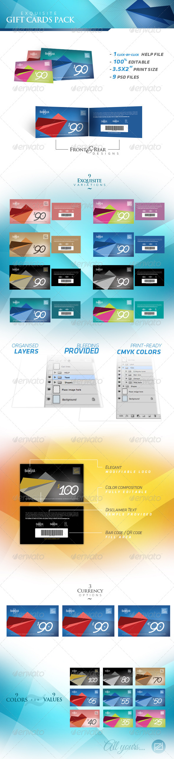 GraphicRiver Exquisite Gift Cards Pack 4071299