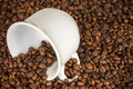 White Cup With Many Coffee Beans - PhotoDune Item for Sale