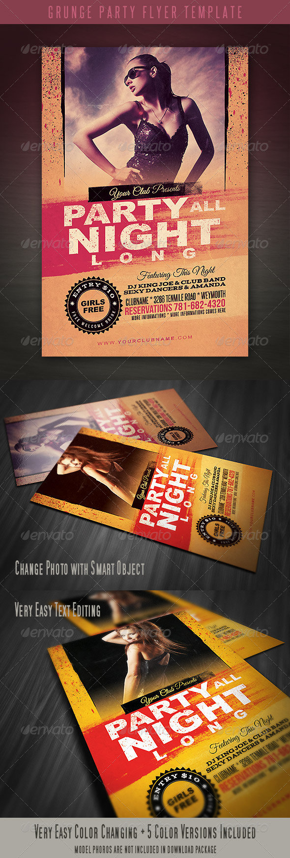 Grunge Party Flyer Template - Clubs & Parties Events