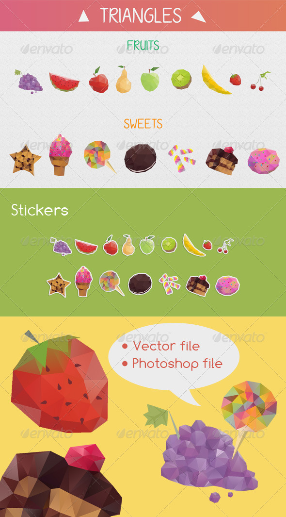 GraphicRiver Vector Food Triangle Stickers 4479570
