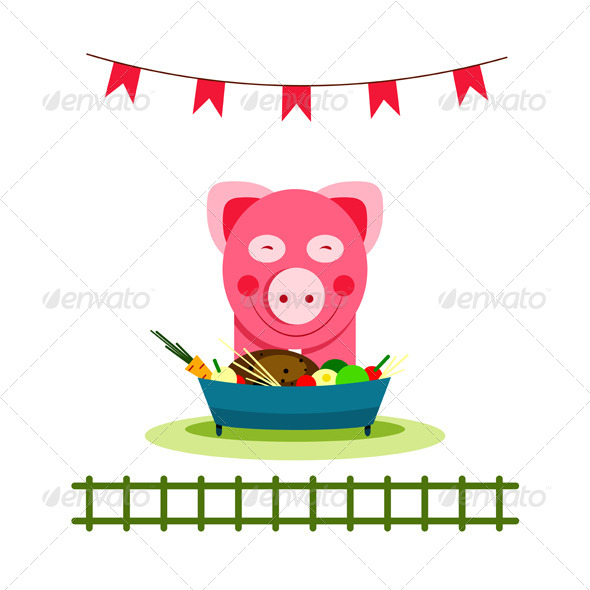 GraphicRiver Pig Eating Food Feast 4533691