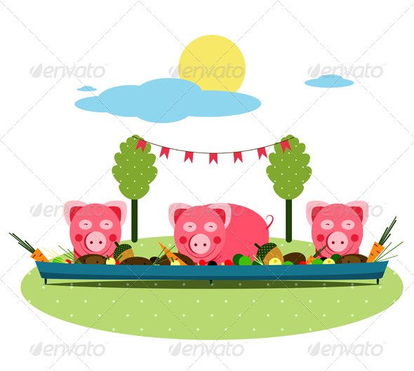GraphicRiver Pigs Eating Food at Farm 4533705