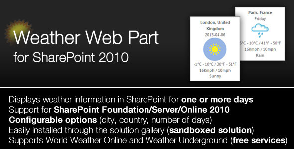 CodeCanyon SharePoint 2010 Weather Webpart 4533970