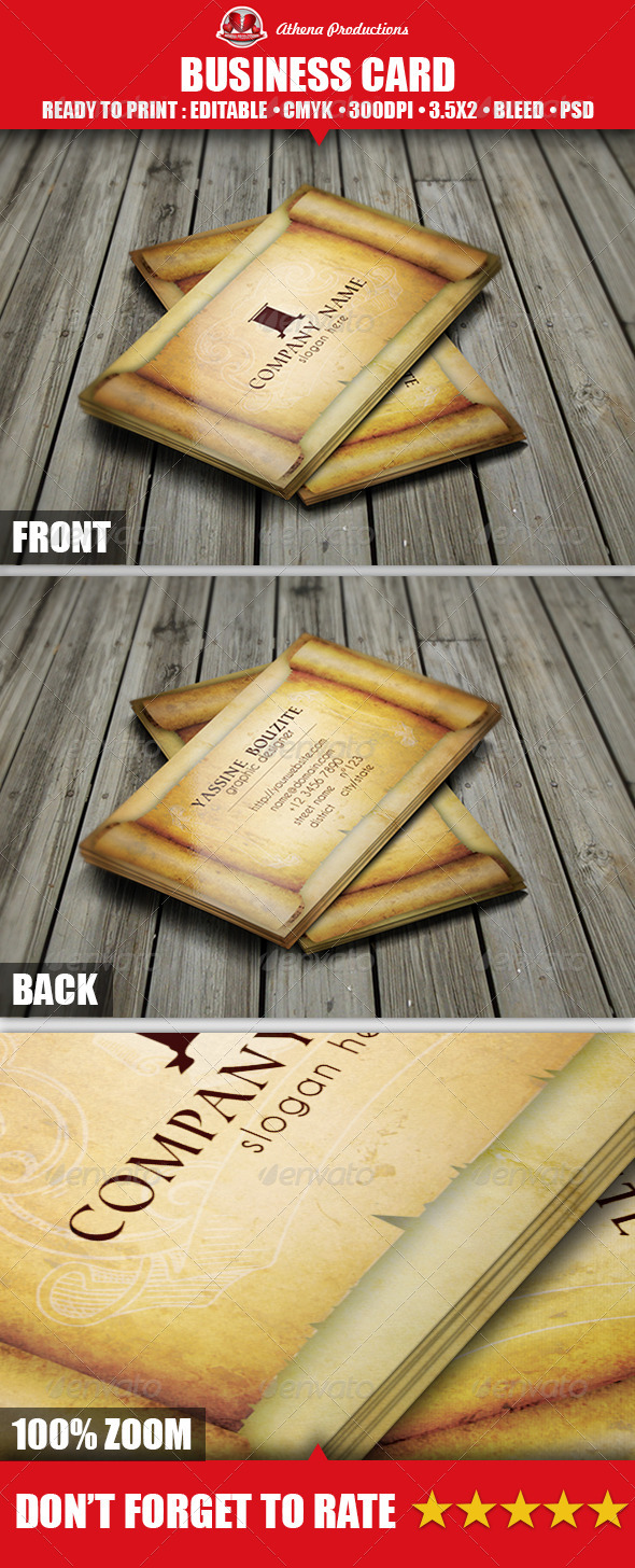 GraphicRiver Ancient Paper Business Card 3894481