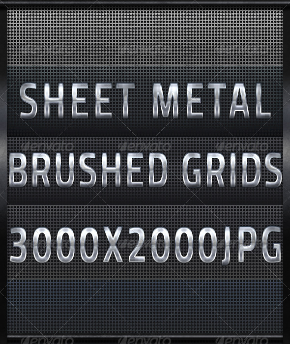 GraphicRiver Five Brushed Metal Steel Grids 4534162