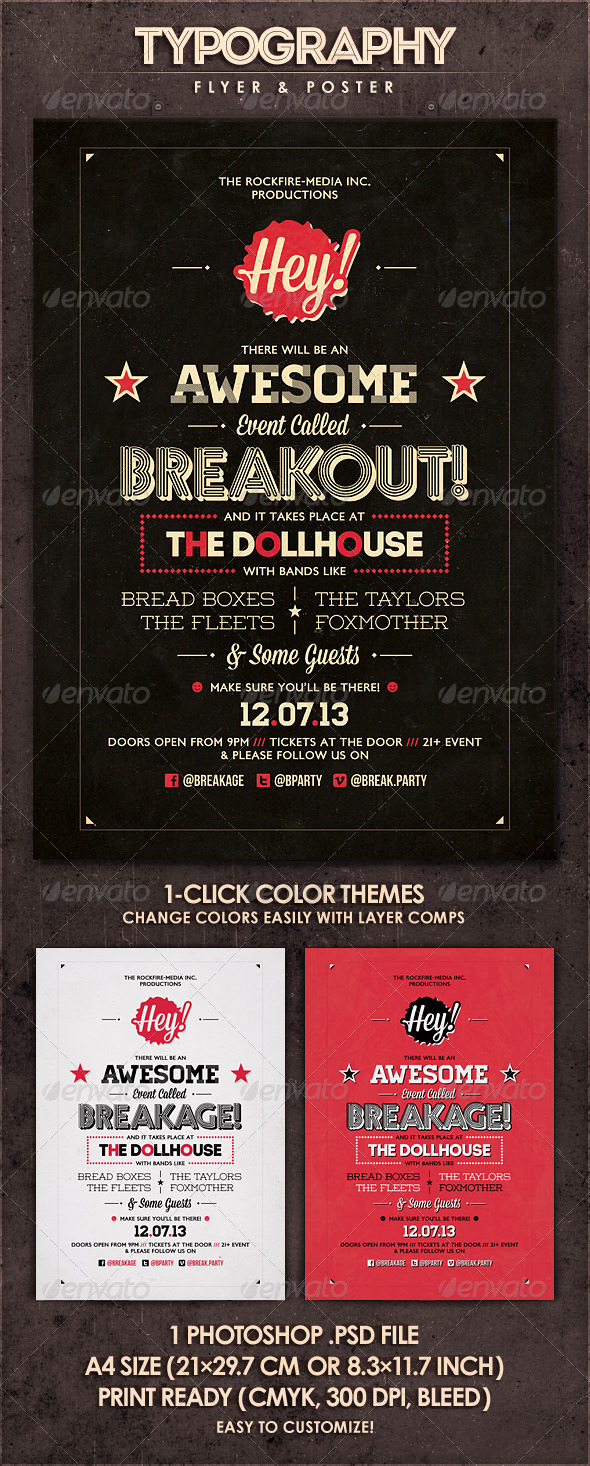 GraphicRiver Breakout Typography Flyer & Poster 4534947