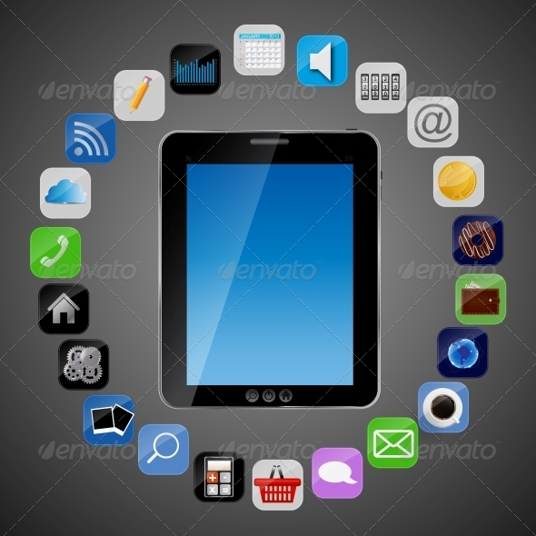 GraphicRiver Universal Design Tablet with App Icons Vector 4535001