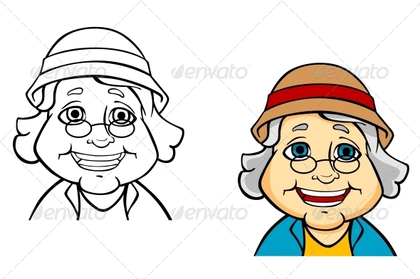 Happy Senior Grandmother - People Characters