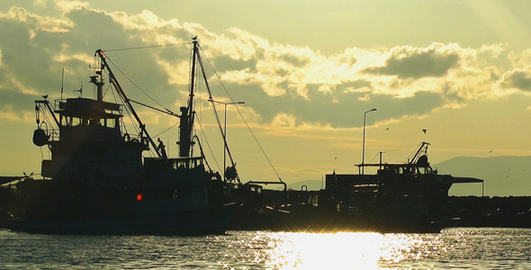 Fishing Boats and the Sunset