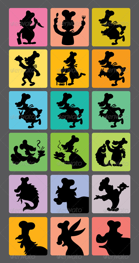 Chef Silhouette Symbols - People Characters