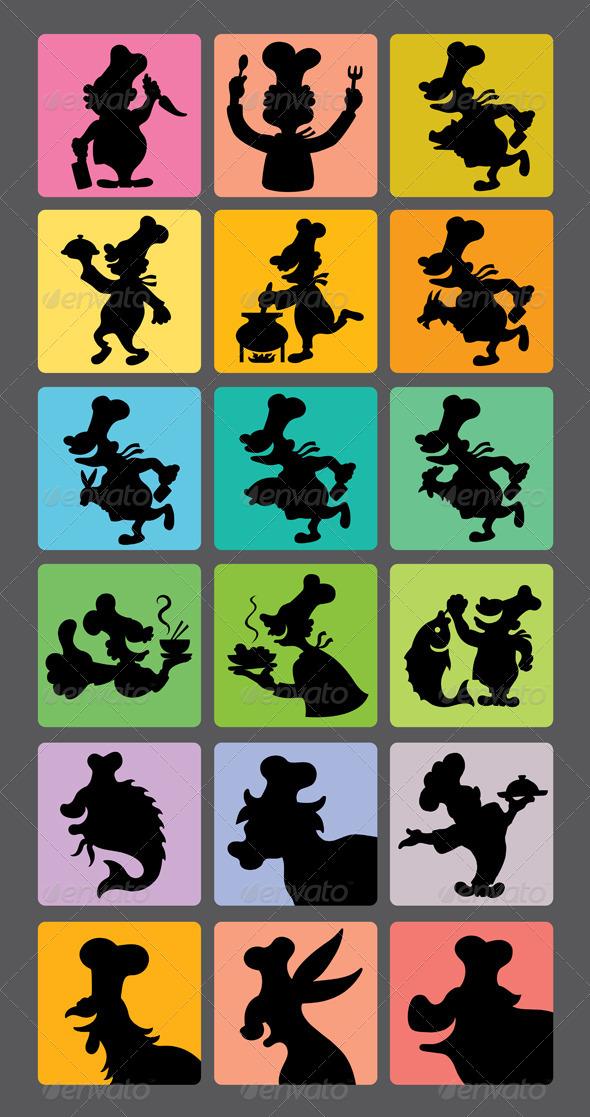 GraphicRiver Chef Silhouette Symbols 4535399