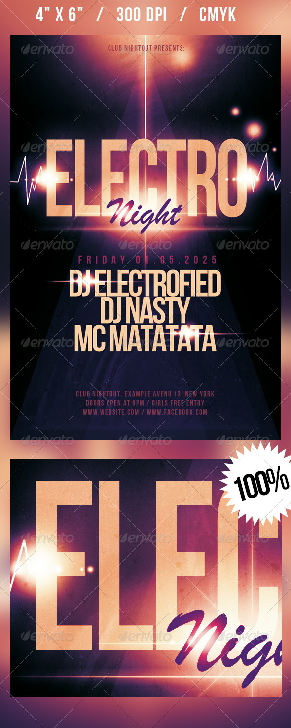 GraphicRiver Electro Night Flyer 4535401