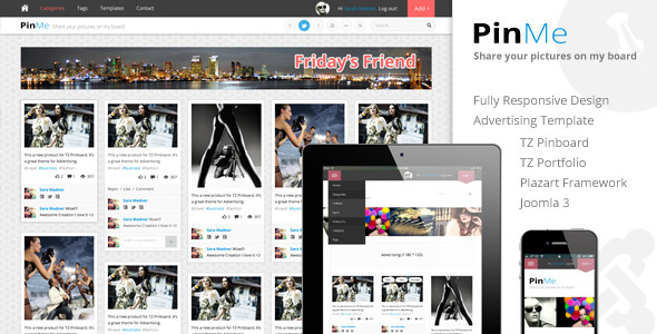 PinMe Advertisement Responsive Joomla Template