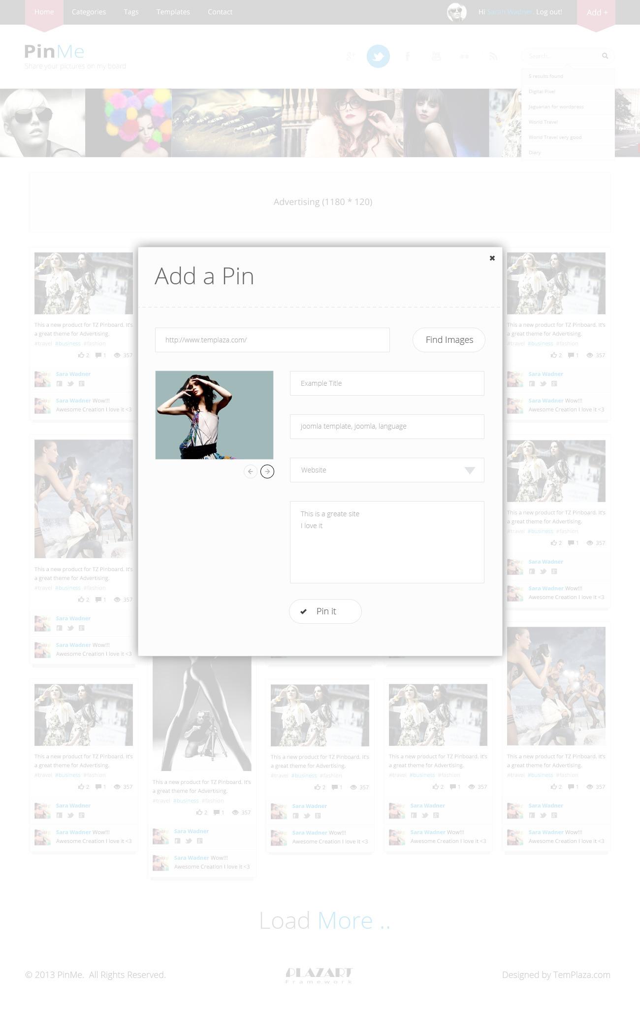 PinMe - Advertisement Responsive Joomla Template