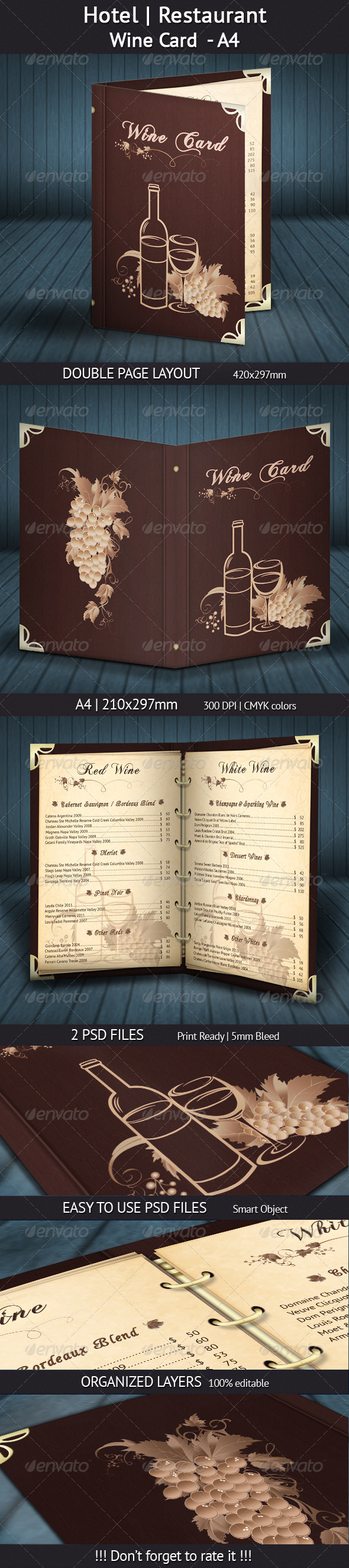 GraphicRiver Hotel Restaurant Wine Card A4 4536240