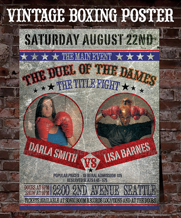 Boxing Posters Template Old boxing poster - sports