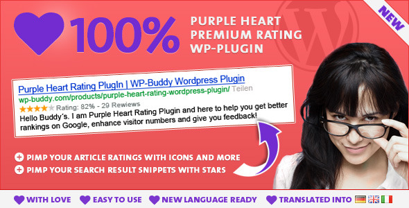 Purple Heart Rating WordPress Plugin - CodeCanyon Item for Sale