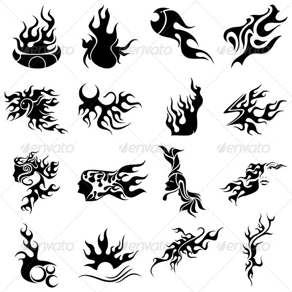 GraphicRiver Tribal Fire Tattoo Designs Vector Pack 4536916