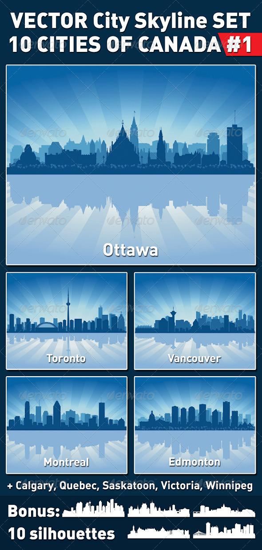 Vector City Skyline Set Canada #1