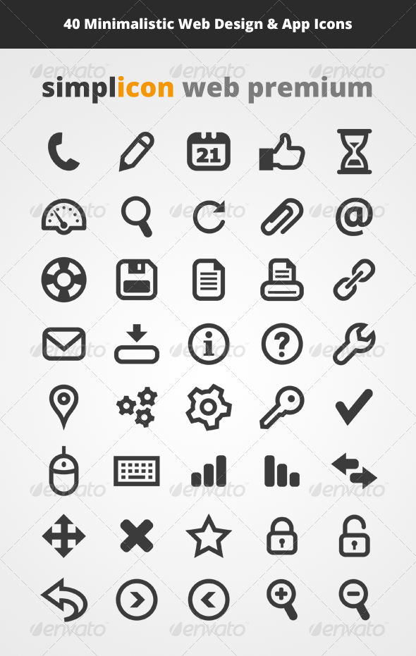 40 Minimalistic Web Design & App Vector Icons - Objects Icons