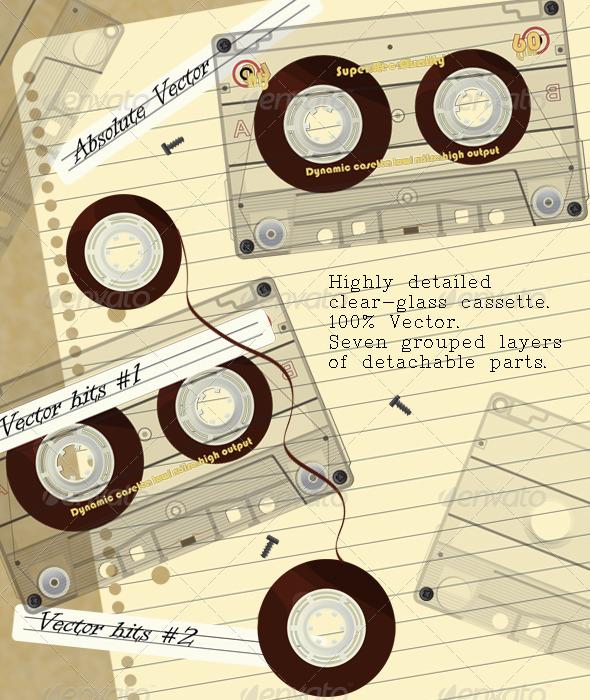 GraphicRiver Realistic Transparent Cassette Kit 477887