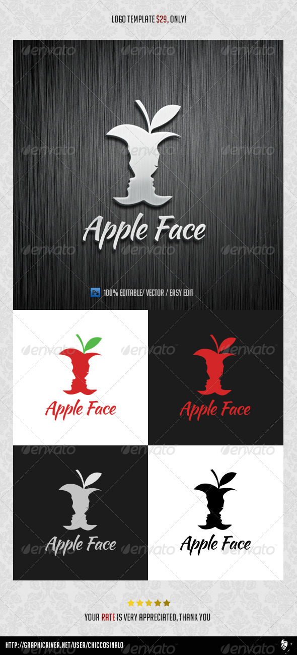 GraphicRiver Apple Face Logo Template 4538337