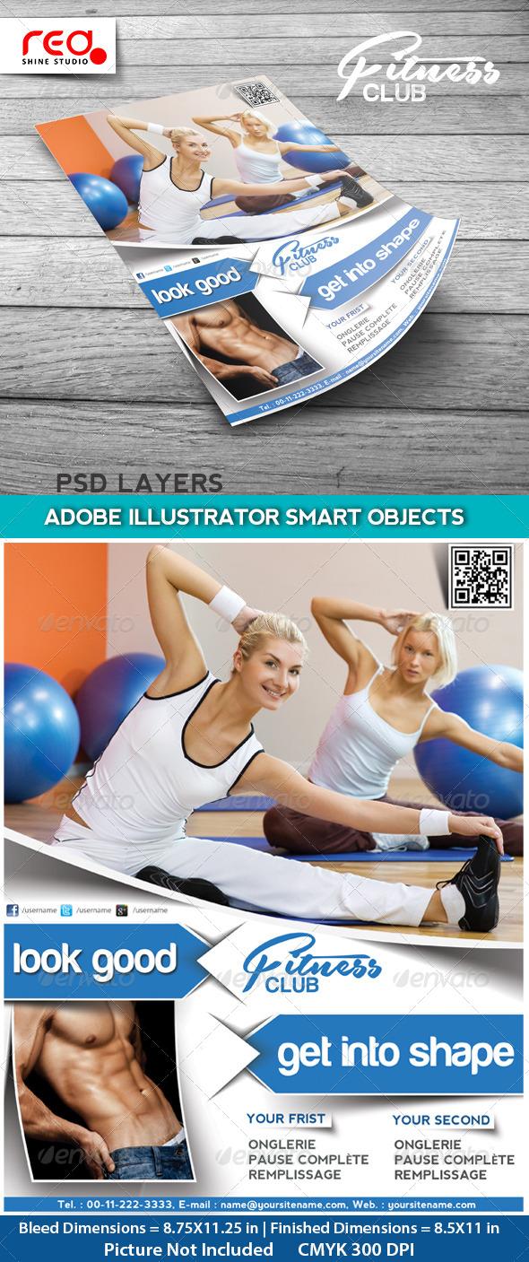 GraphicRiver Fitness Club Flyer Poster & Magzine Cover Design 4539522
