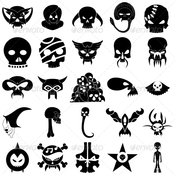 GraphicRiver Skull Tattoo Designs Vector Pack 4539647