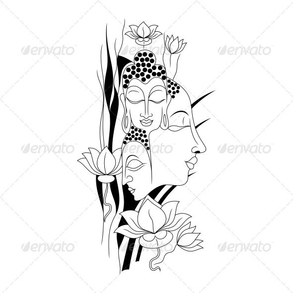 GraphicRiver Artistic Gautam Buddha Vector Illustration 4539770