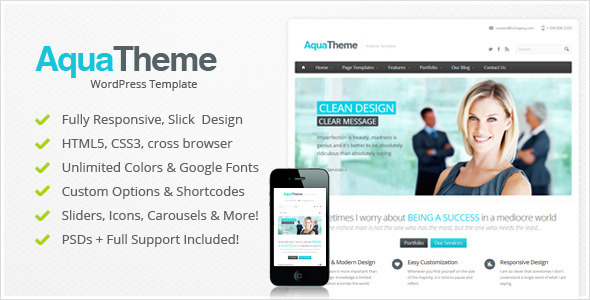 Aqua - Responsive Multi-Purpose Wordpress Template - Corporate WordPress