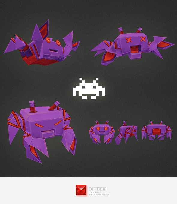 3DOcean Low Poly Space Invader Alien 04 4540256