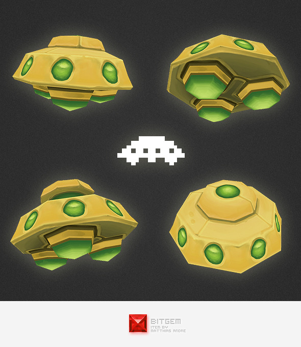 Low Poly Space Invader Alien 05 - 3DOcean Item for Sale