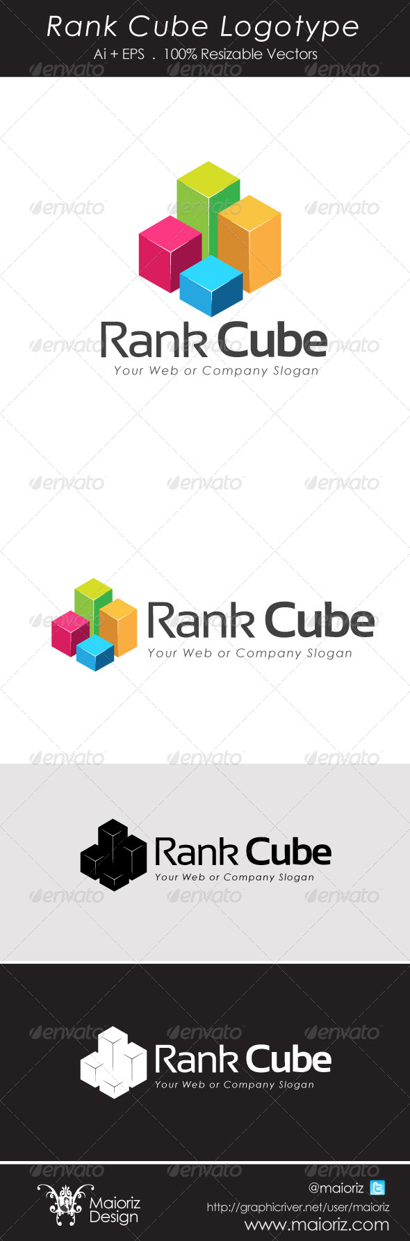 Rank Cube Logotype - 3d Abstract