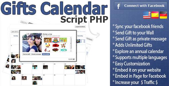 CodeCanyon Script PHP Gift Calendar Facebook Home 4528835