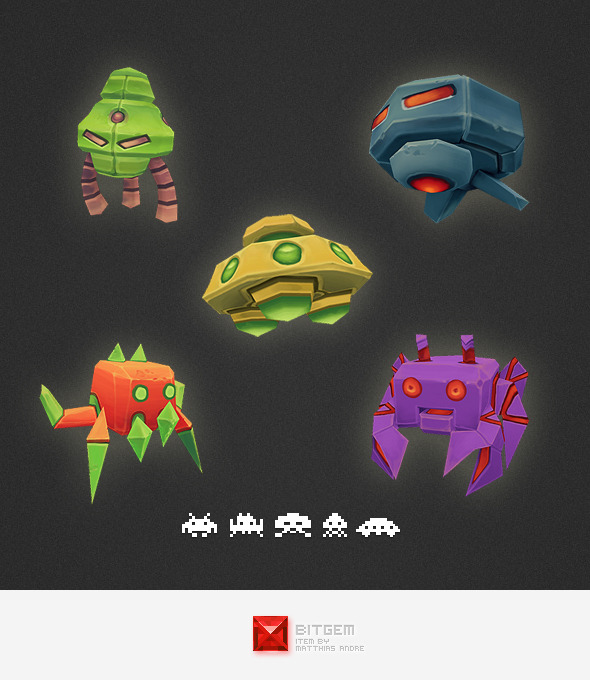 3DOcean Low Poly Space Invader Set 4540492