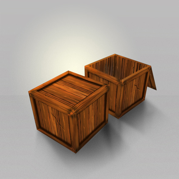 Wood Box Lowpoly - 3DOcean Item for Sale