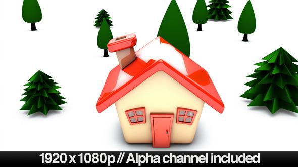 Simple Cartoon House Building On Concept Alpha