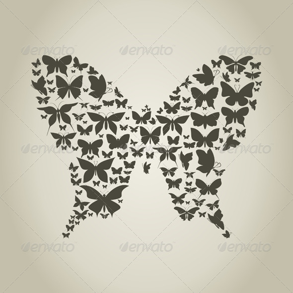 GraphicRiver Silhouette the Butterfly 4540828